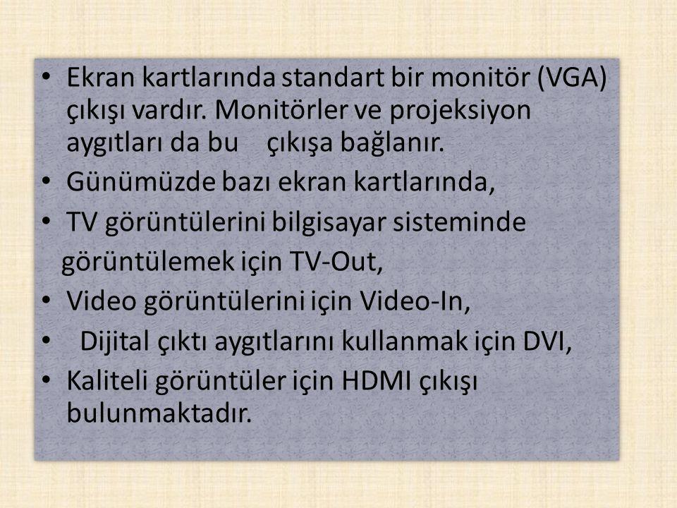 Ekran kartlarında standart bir monitör (VGA) çıkışı vardır