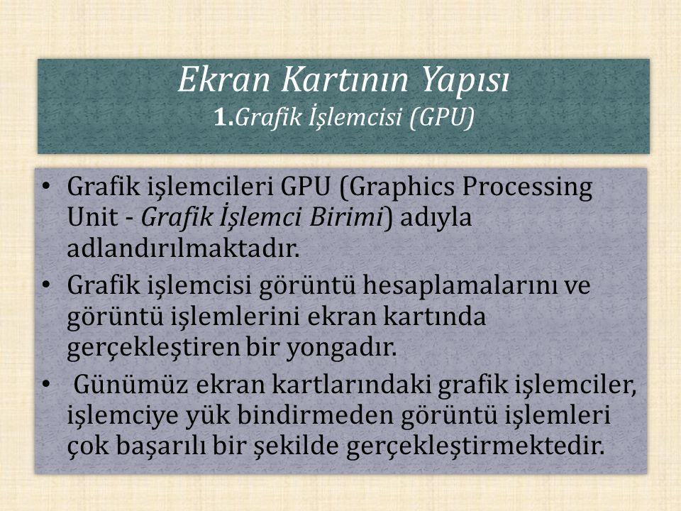 Ekran Kartının Yapısı 1.Grafik İşlemcisi (GPU)
