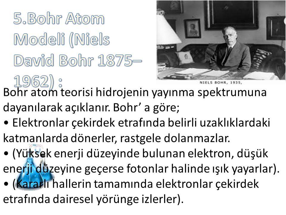 5.Bohr Atom Modeli (Niels David Bohr 1875–1962) :