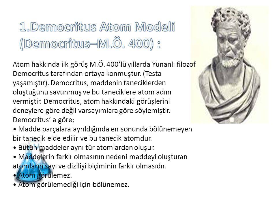 1.Democritus Atom Modeli (Democritus–M.Ö. 400) :