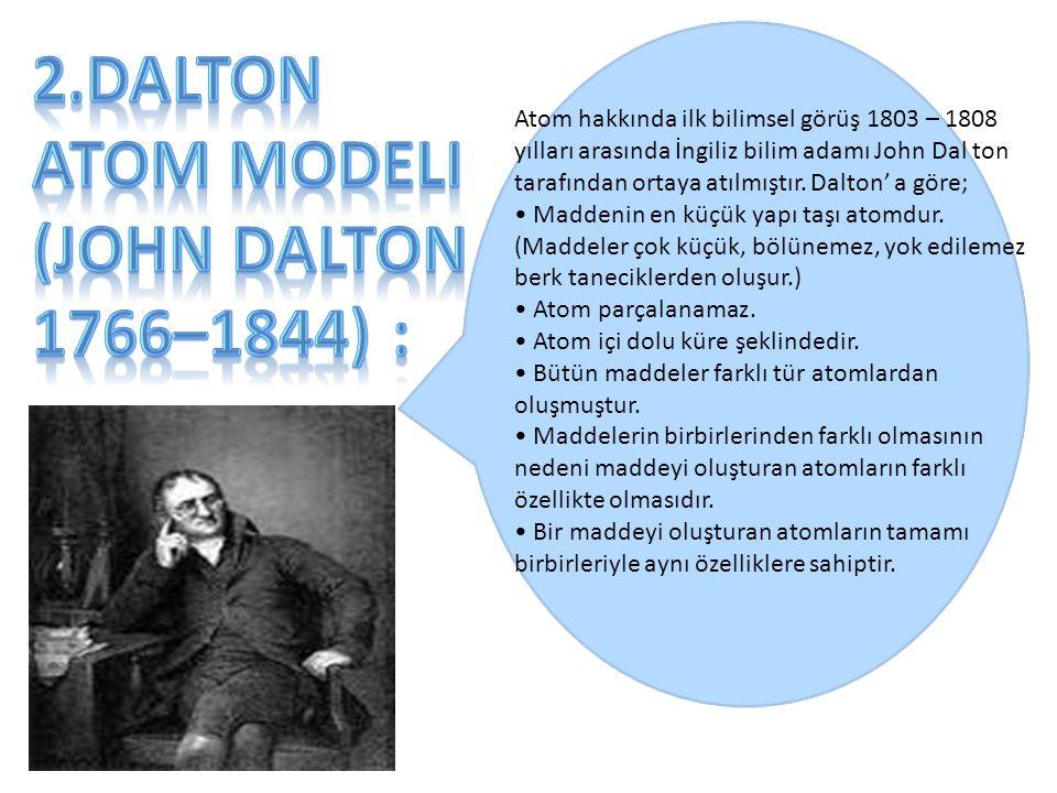 2.Dalton Atom Modeli (John Dalton 1766–1844) :