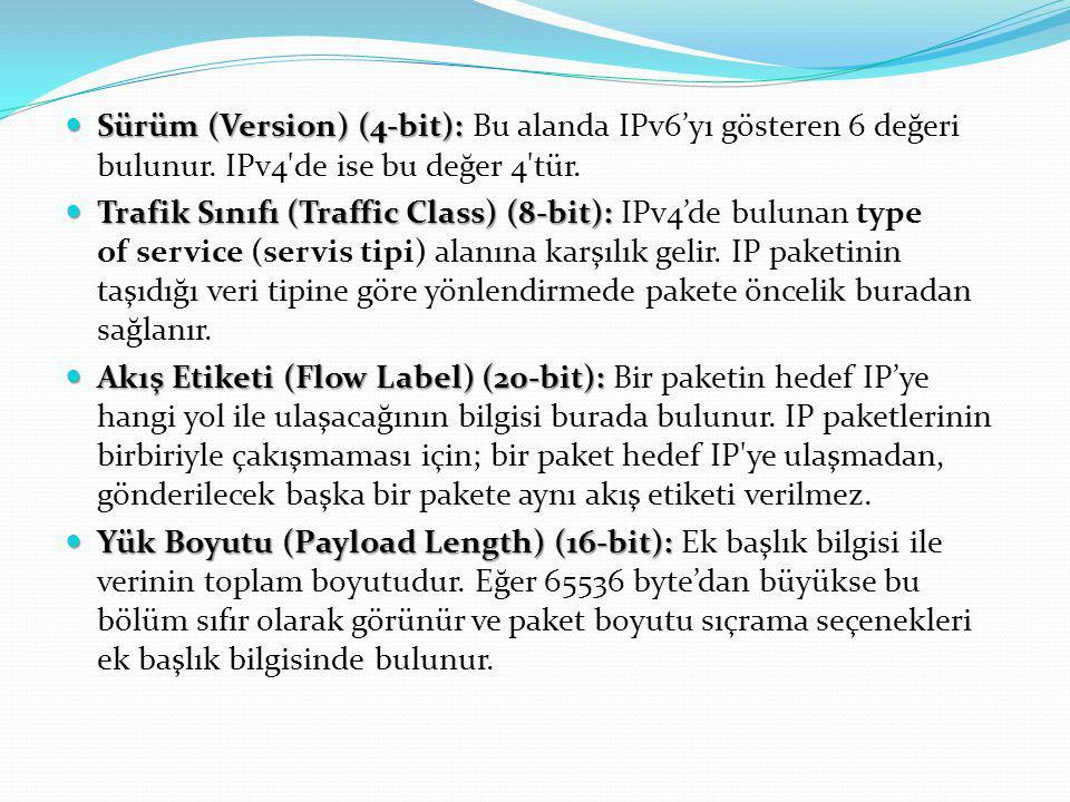 Sürüm (Version) (4-bit): Bu alanda IPv6'yı gösteren 6 değeri bulunur