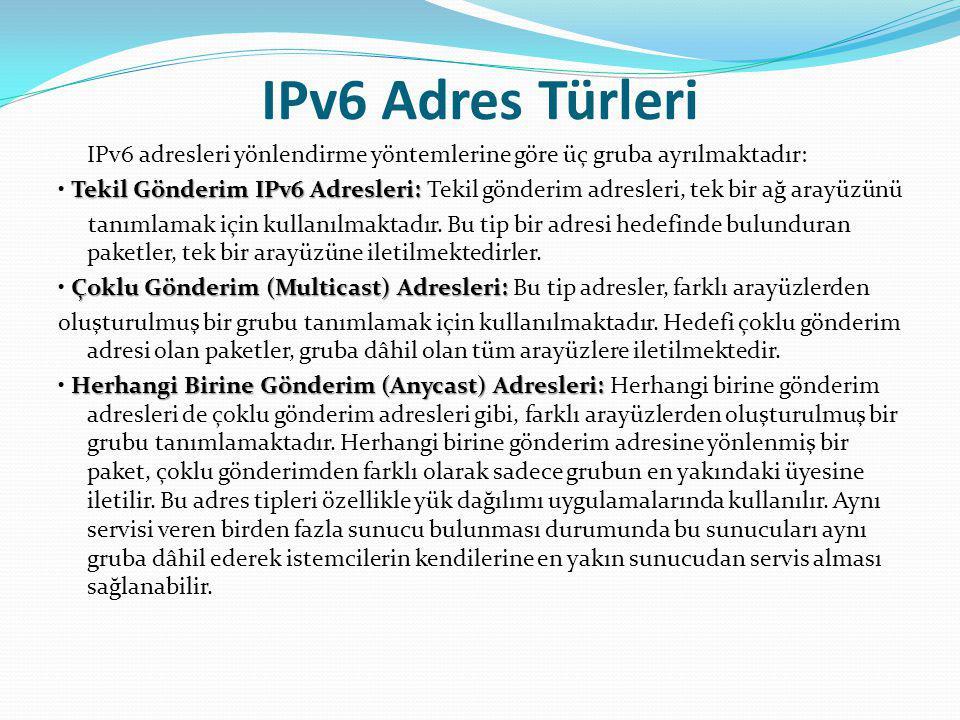 IPv6 Adres Türleri IPv6 adresleri yönlendirme yöntemlerine göre üç gruba ayrılmaktadır: