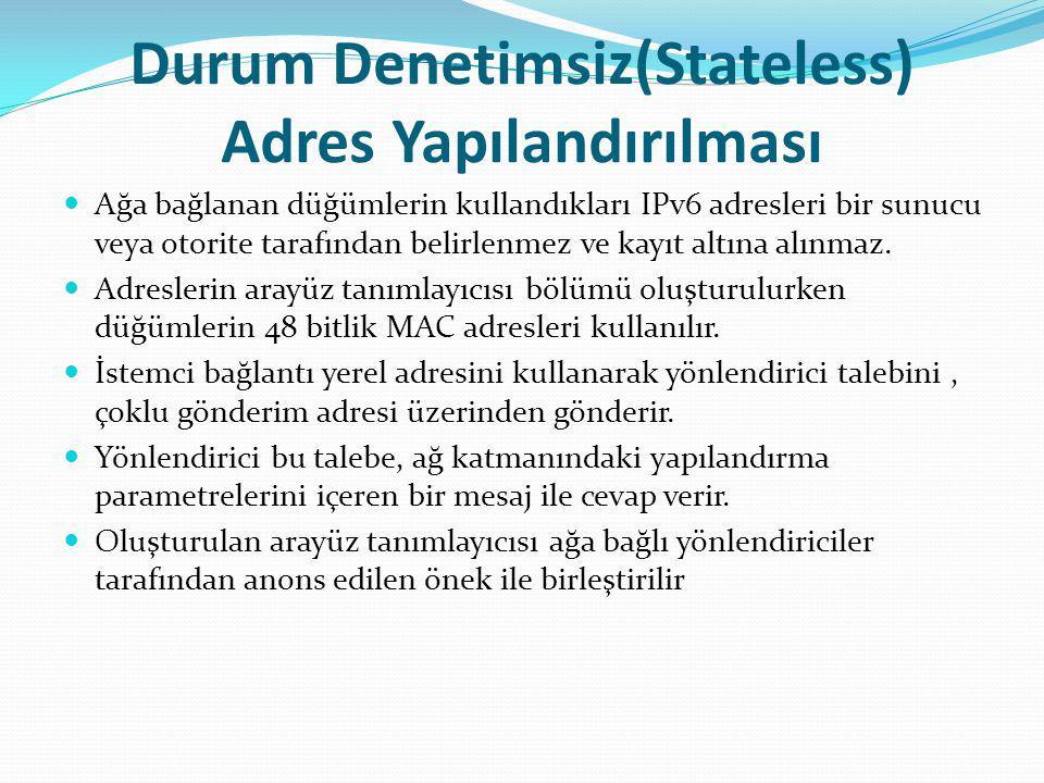 Durum Denetimsiz(Stateless) Adres Yapılandırılması