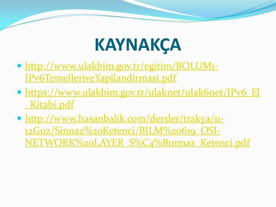 KAYNAKÇA http://www.ulakbim.gov.tr/egitim/BOLUM1-IPv6TemelleriveYapilandirmasi.pdf. https://www.ulakbim.gov.tr/ulaknet/ulak6net/IPv6_El_Kitabi.pdf.