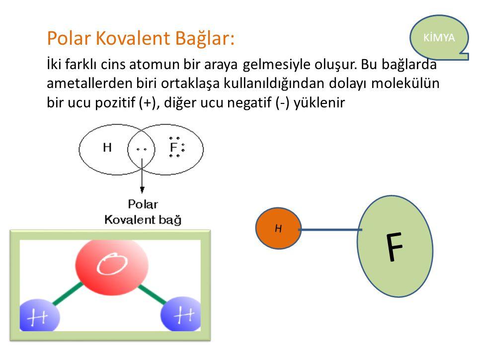 F Polar Kovalent Bağlar: