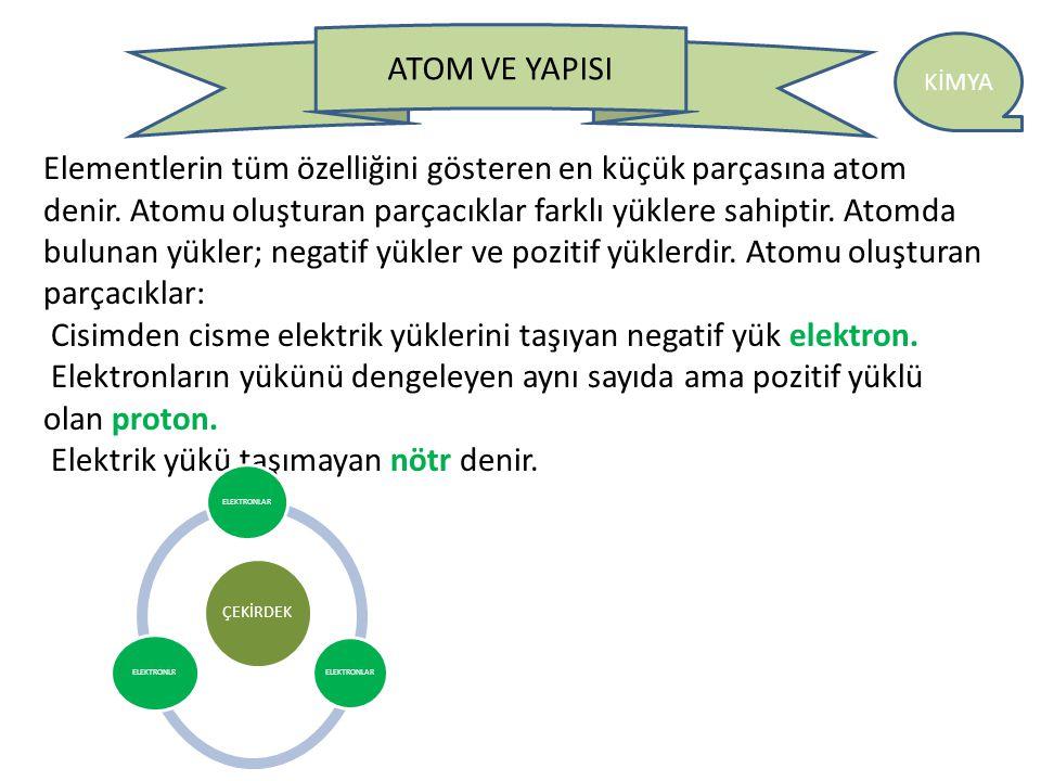 Elementlerin tüm özelliğini gösteren en küçük parçasına atom denir
