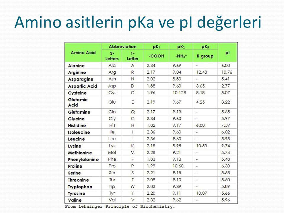 Amino asitlerin pKa ve pI değerleri
