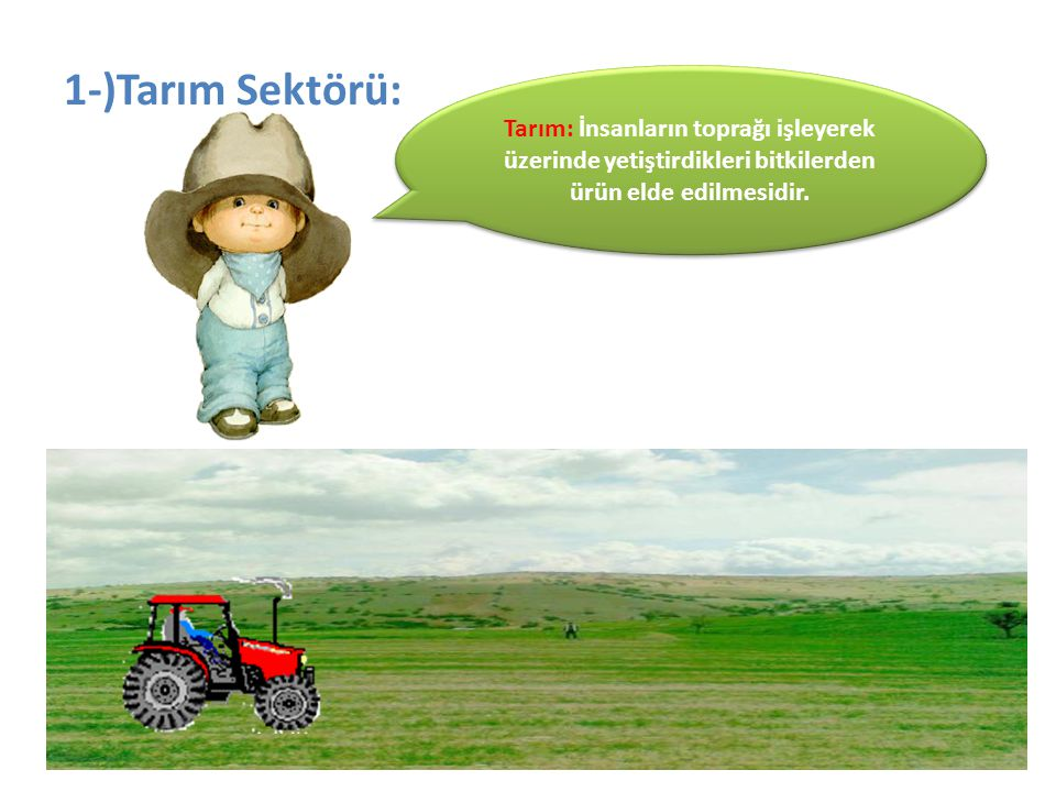 1-)Tarım Sektörü: Tarım: İnsanların toprağı işleyerek üzerinde yetiştirdikleri bitkilerden ürün elde edilmesidir.