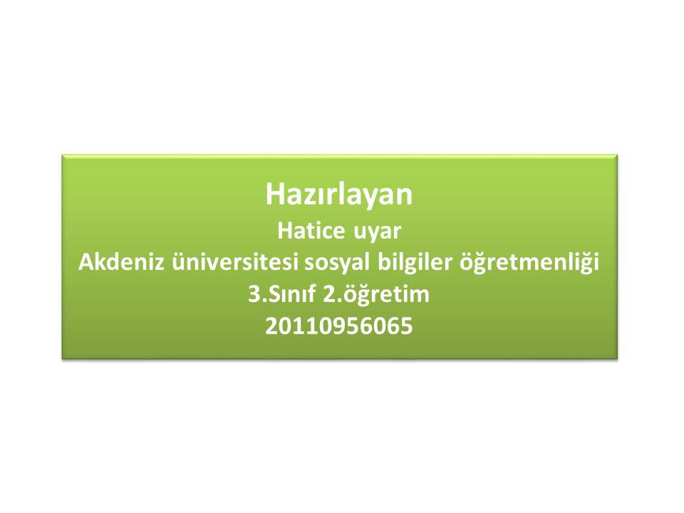 Akdeniz üniversitesi sosyal bilgiler öğretmenliği