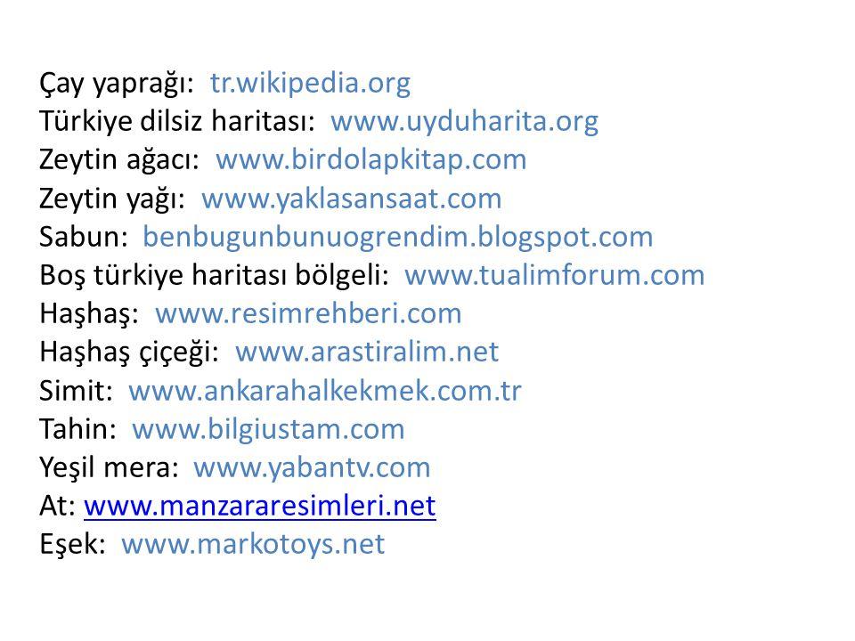 Çay yaprağı: tr. wikipedia. org Türkiye dilsiz haritası: www