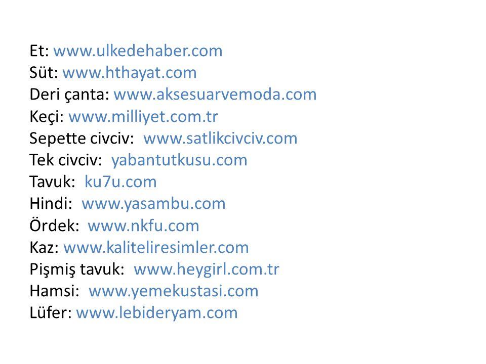 Et: www. ulkedehaber. com Süt: www. hthayat. com Deri çanta: www