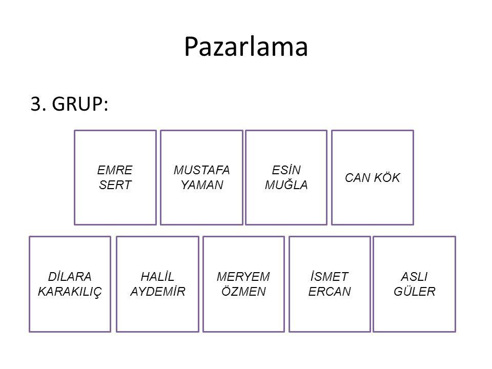 Pazarlama 3. GRUP: Emre Sert Mustafa Yaman Esİn Muğla Can Kök