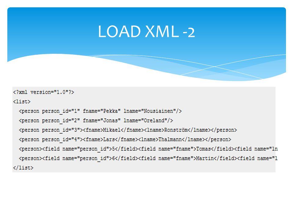 LOAD XML -2
