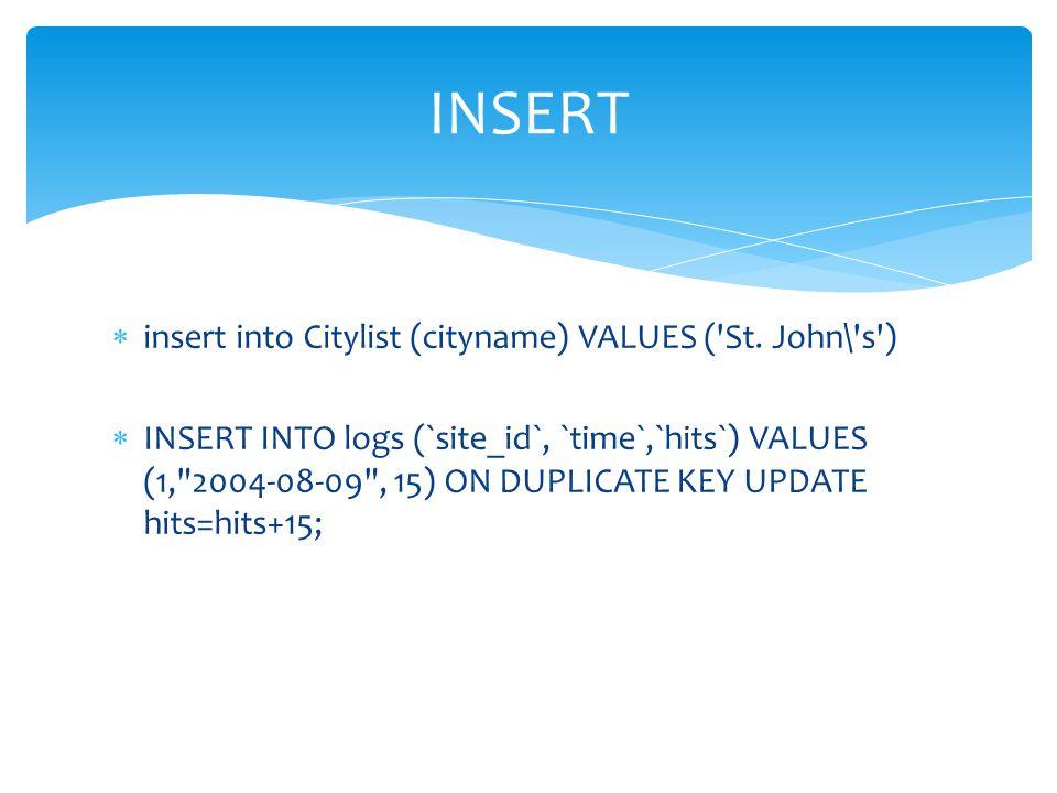 INSERT insert into Citylist (cityname) VALUES ( St. John\ s )