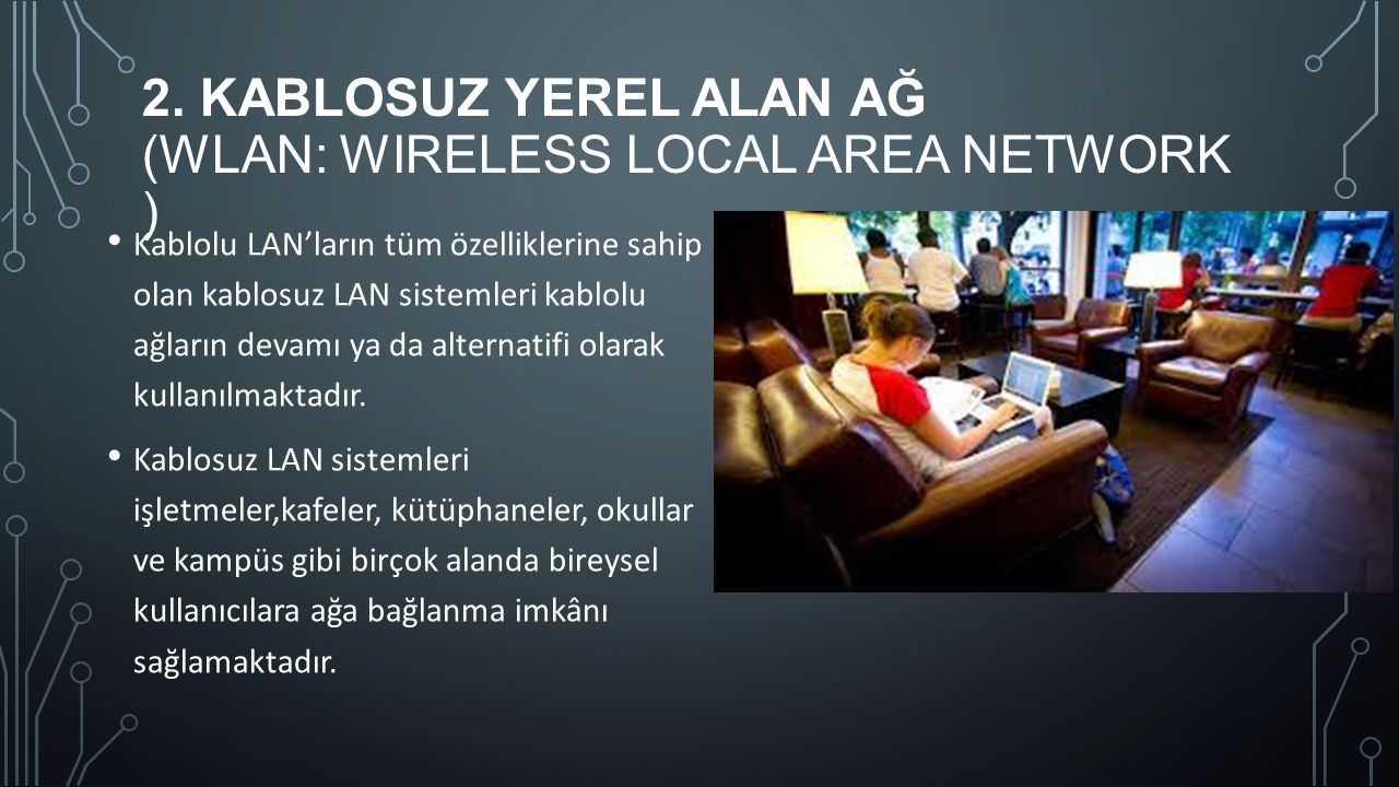 2. Kablosuz Yerel Alan Ağ (WLAN: Wireless Local Area Network )