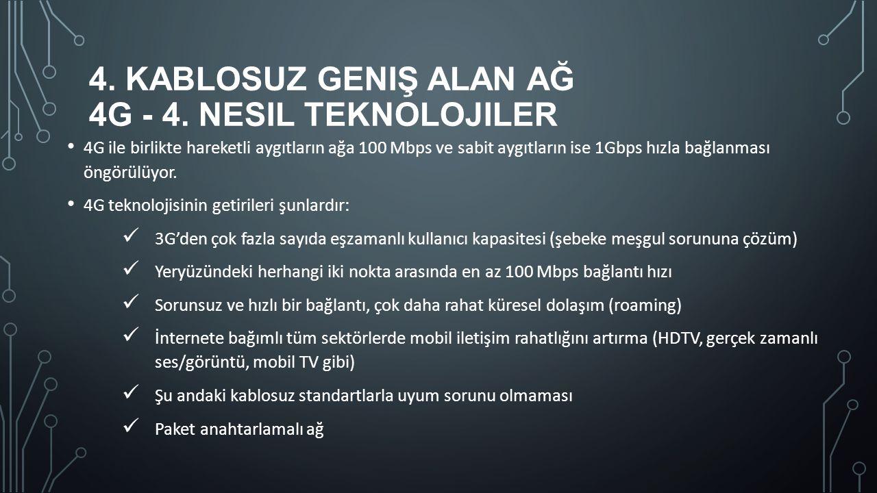 4. Kablosuz Geniş Alan Ağ 4G - 4. Nesil teknolojiler