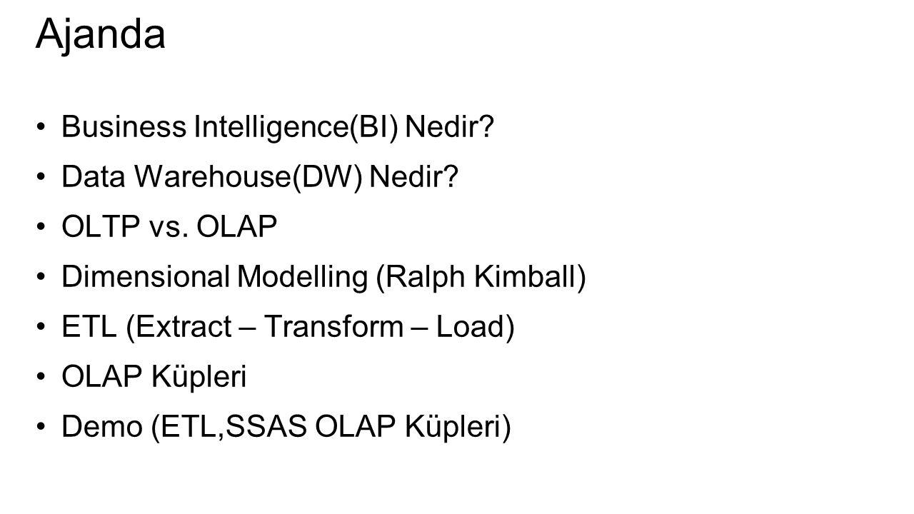 Ajanda Business Intelligence(BI) Nedir Data Warehouse(DW) Nedir