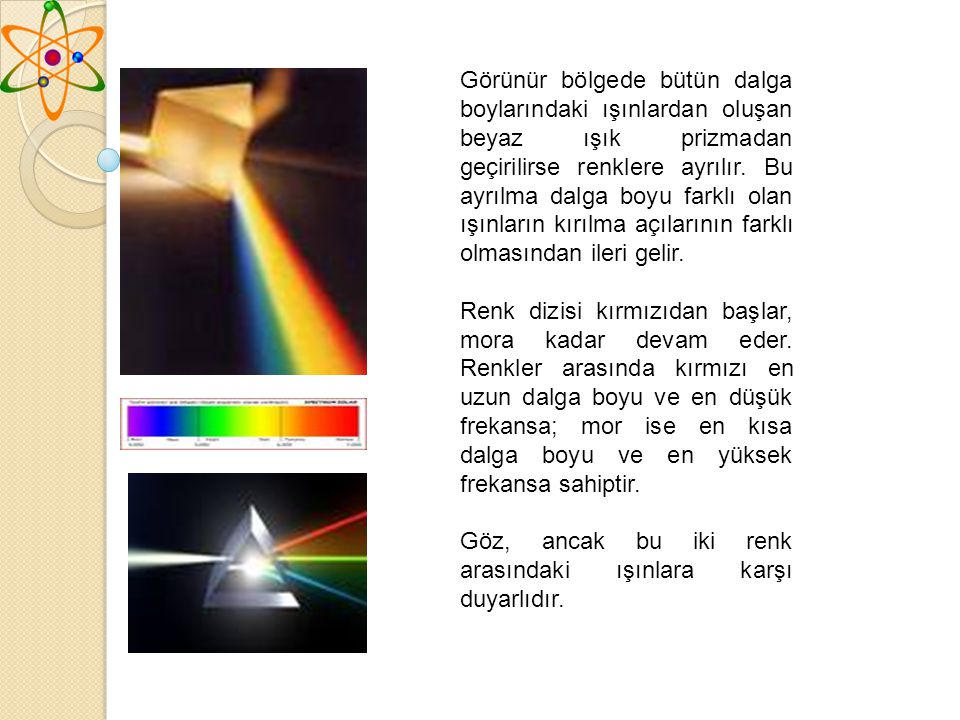 Görünür bölgede bütün dalga boylarındaki ışınlardan oluşan beyaz ışık prizmadan geçirilirse renklere ayrılır. Bu ayrılma dalga boyu farklı olan ışınların kırılma açılarının farklı olmasından ileri gelir.