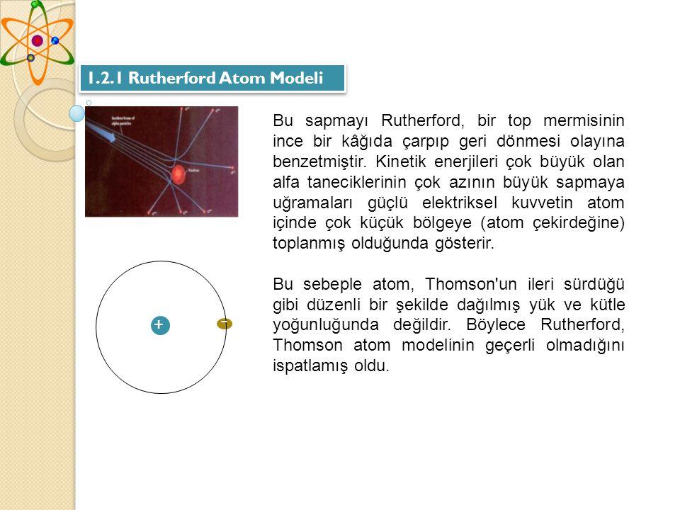 - 1.2.1 Rutherford Atom Modeli