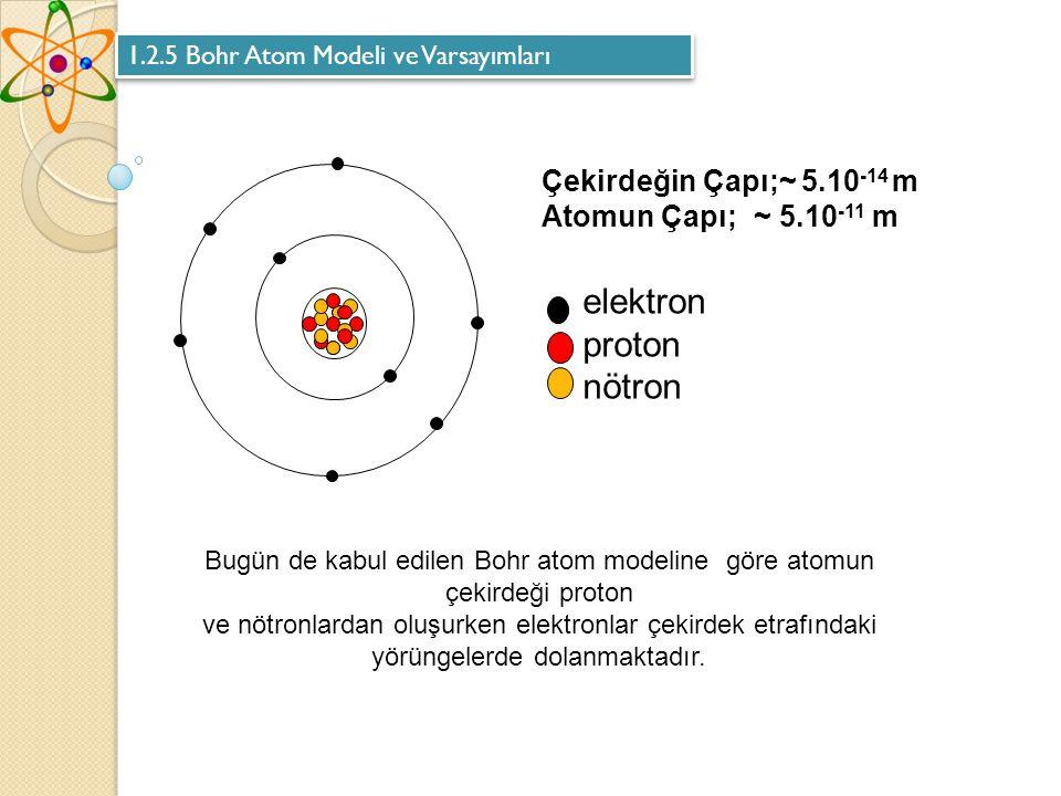 Bugün de kabul edilen Bohr atom modeline göre atomun çekirdeği proton