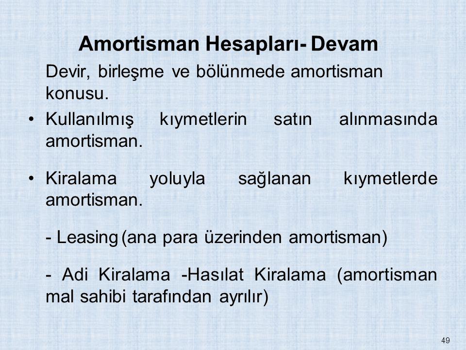 Amortisman Hesapları- Devam