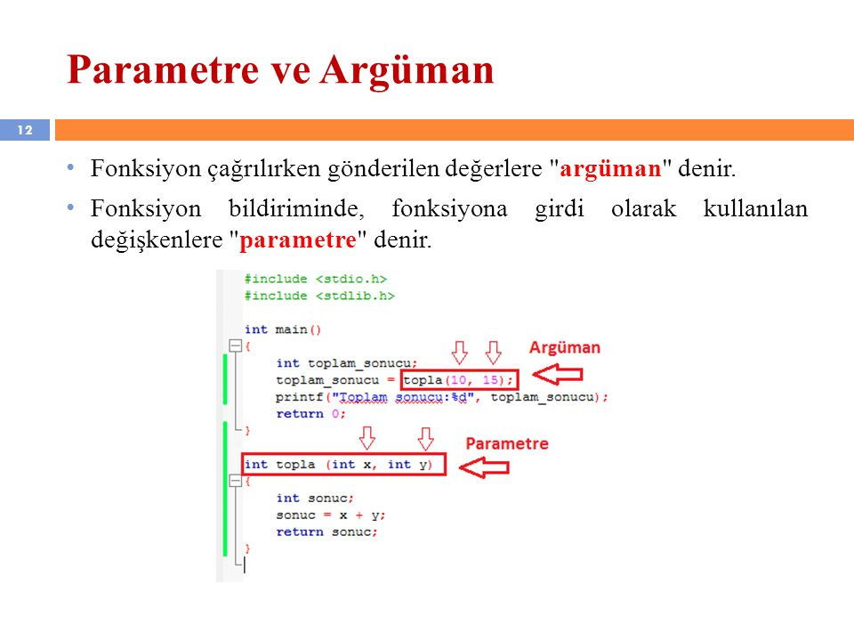 Parametre ve Argüman Fonksiyon çağrılırken gönderilen değerlere argüman denir.