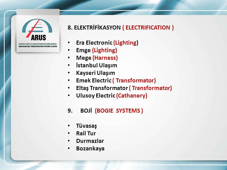 8. ELEKTRİFİKASYON ( ELECTRIFICATION )