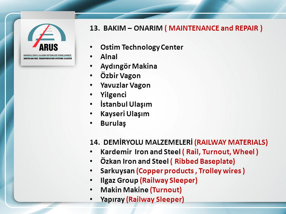 13. BAKIM – ONARIM ( MAINTENANCE and REPAIR )
