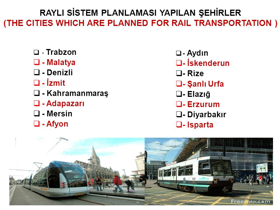 RAYLI SİSTEM PLANLAMASI YAPILAN ŞEHİRLER (THE CITIES WHICH ARE PLANNED FOR RAIL TRANSPORTATION )
