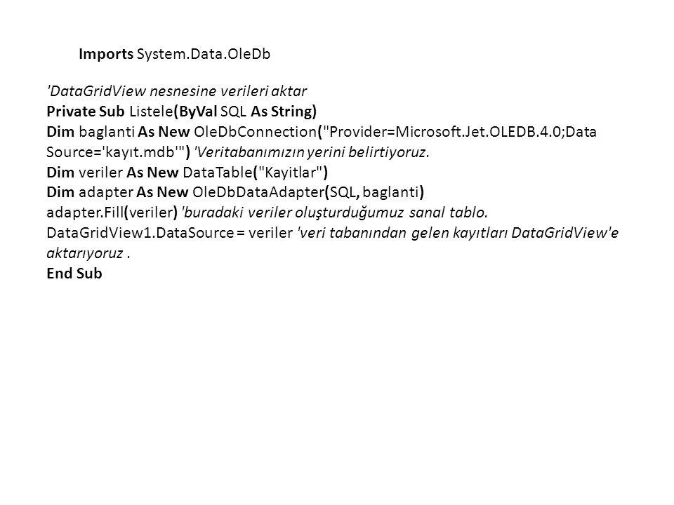 Imports System.Data.OleDb
