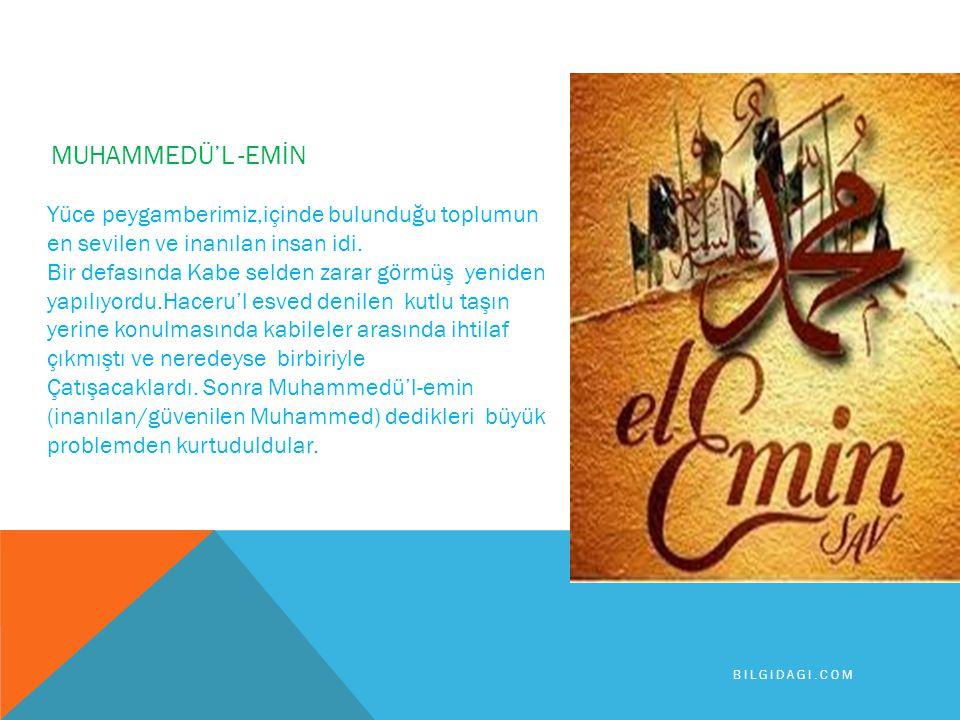 MUHAMMEDÜ'L -EMİN Yüce peygamberimiz,içinde bulunduğu toplumun en sevilen ve inanılan insan idi.