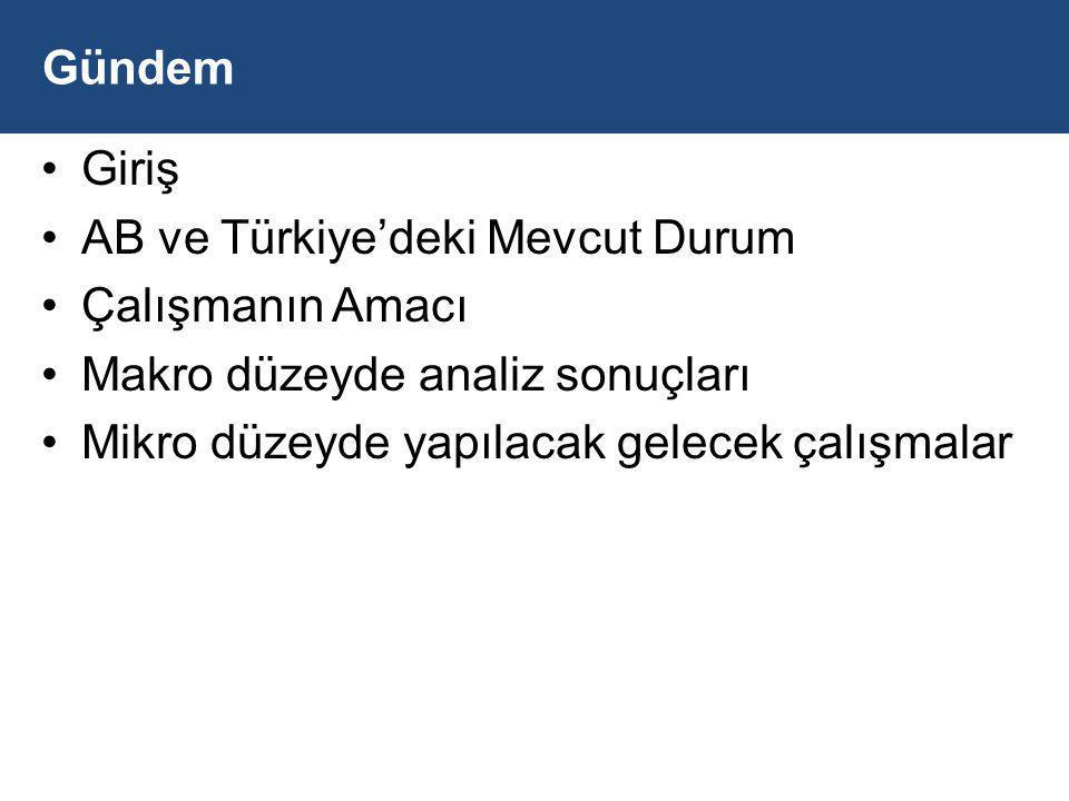 Gündem Giriş. AB ve Türkiye'deki Mevcut Durum. Çalışmanın Amacı. Makro düzeyde analiz sonuçları.