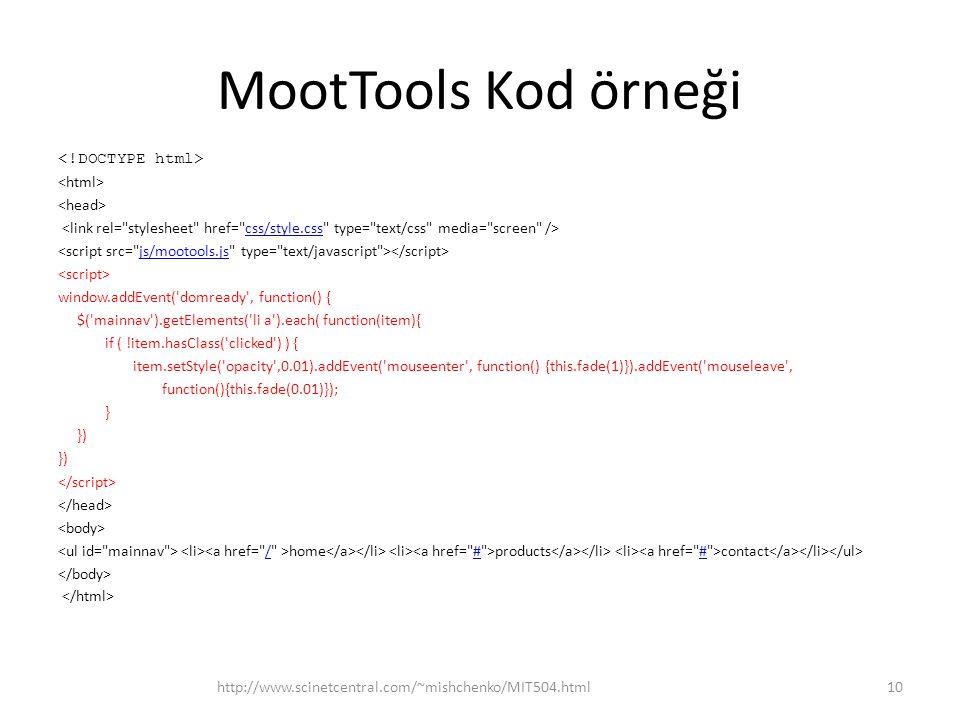 MootTools Kod örneği