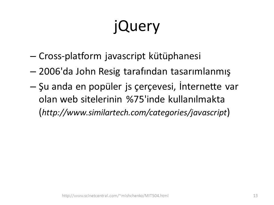jQuery Cross-platform javascript kütüphanesi