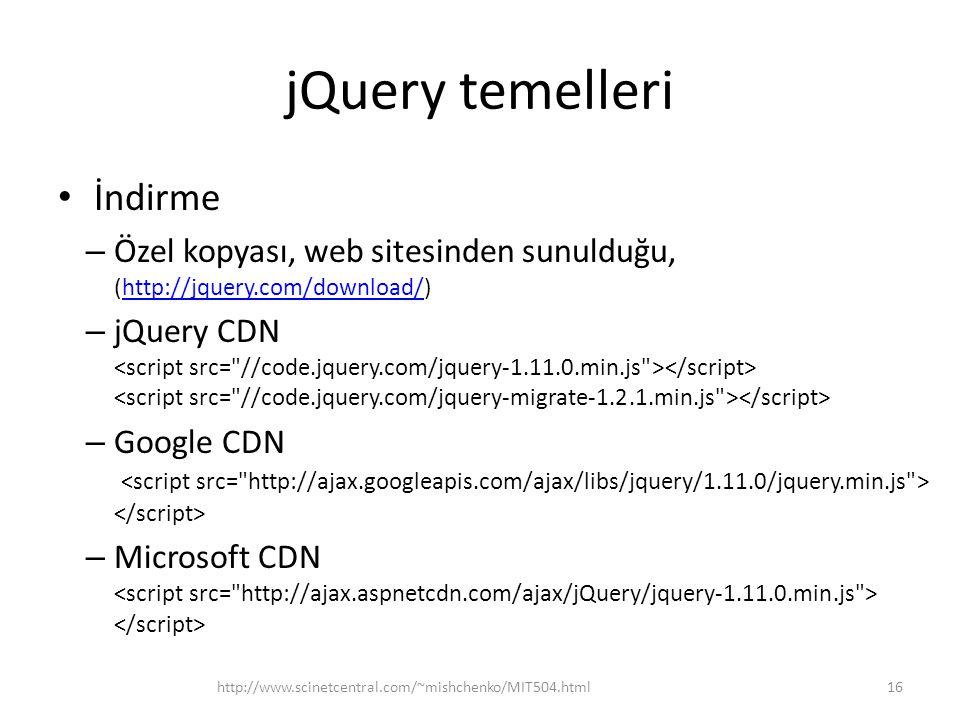 jQuery temelleri İndirme
