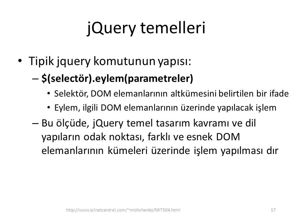 jQuery temelleri Tipik jquery komutunun yapısı: