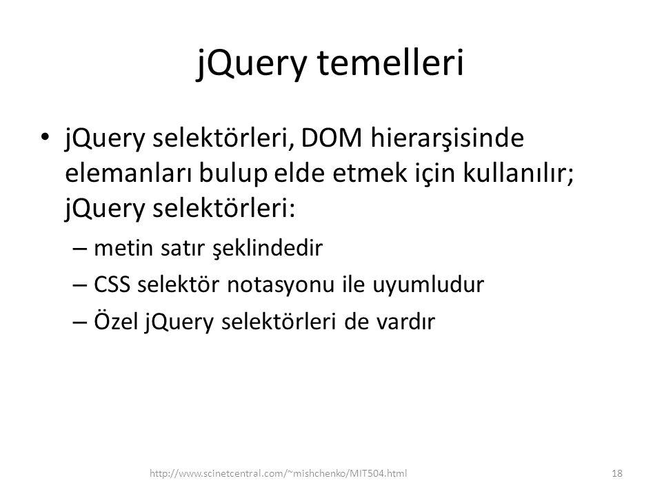 jQuery temelleri jQuery selektörleri, DOM hierarşisinde elemanları bulup elde etmek için kullanılır; jQuery selektörleri: