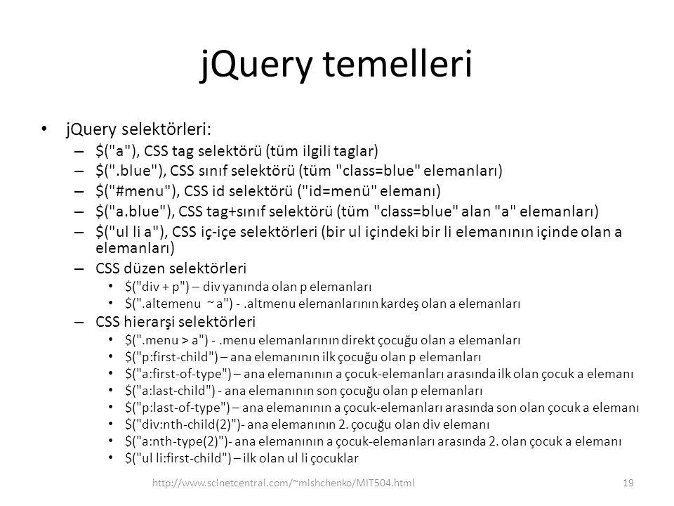 jQuery temelleri jQuery selektörleri: