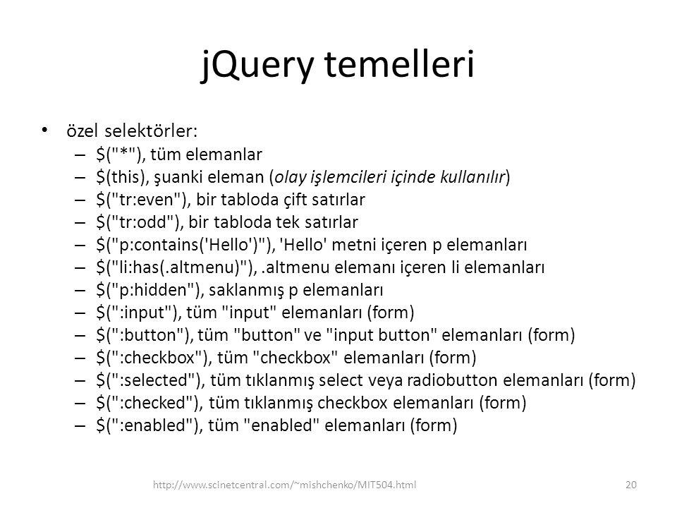 jQuery temelleri özel selektörler: $( * ), tüm elemanlar