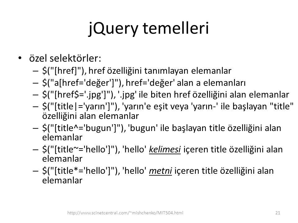 jQuery temelleri özel selektörler: