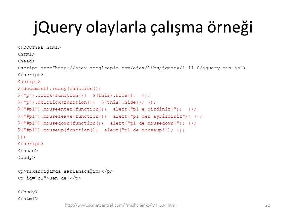 jQuery olaylarla çalışma örneği