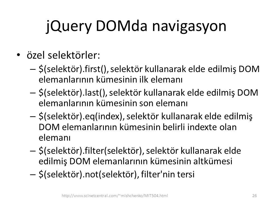 jQuery DOMda navigasyon