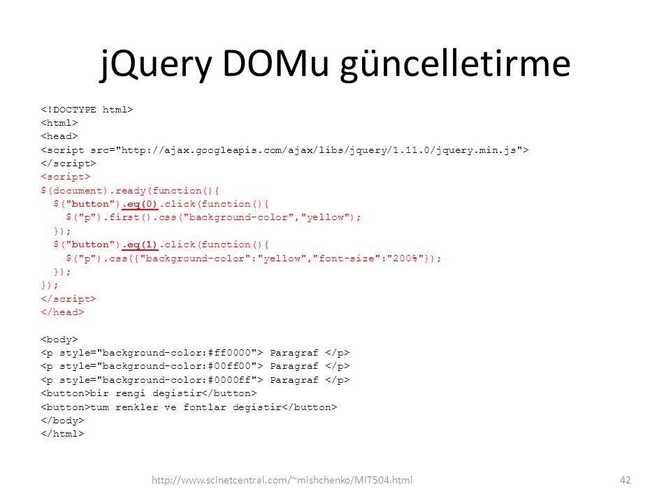 jQuery DOMu güncelletirme
