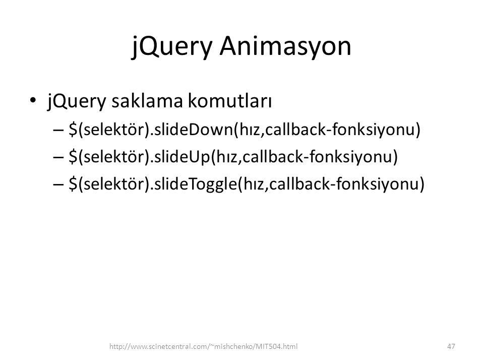 jQuery Animasyon jQuery saklama komutları