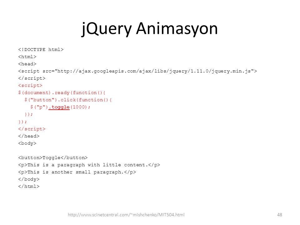 jQuery Animasyon