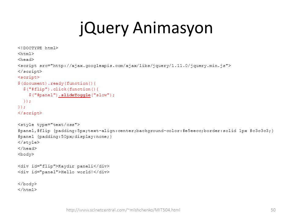 jQuery Animasyon http://www.scinetcentral.com/~mishchenko/MIT504.html