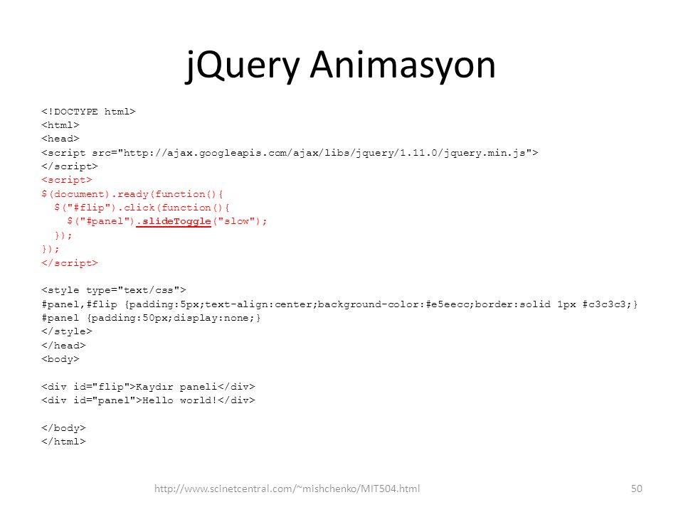 jQuery Animasyon http://www.scinetcentral.com/~mishchenko/MIT504.html