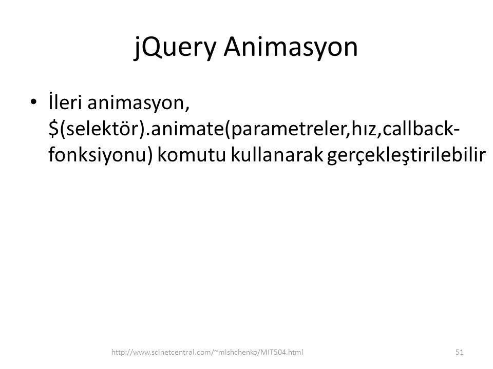 jQuery Animasyon İleri animasyon, $(selektör).animate(parametreler,hız,callback-fonksiyonu) komutu kullanarak gerçekleştirilebilir.