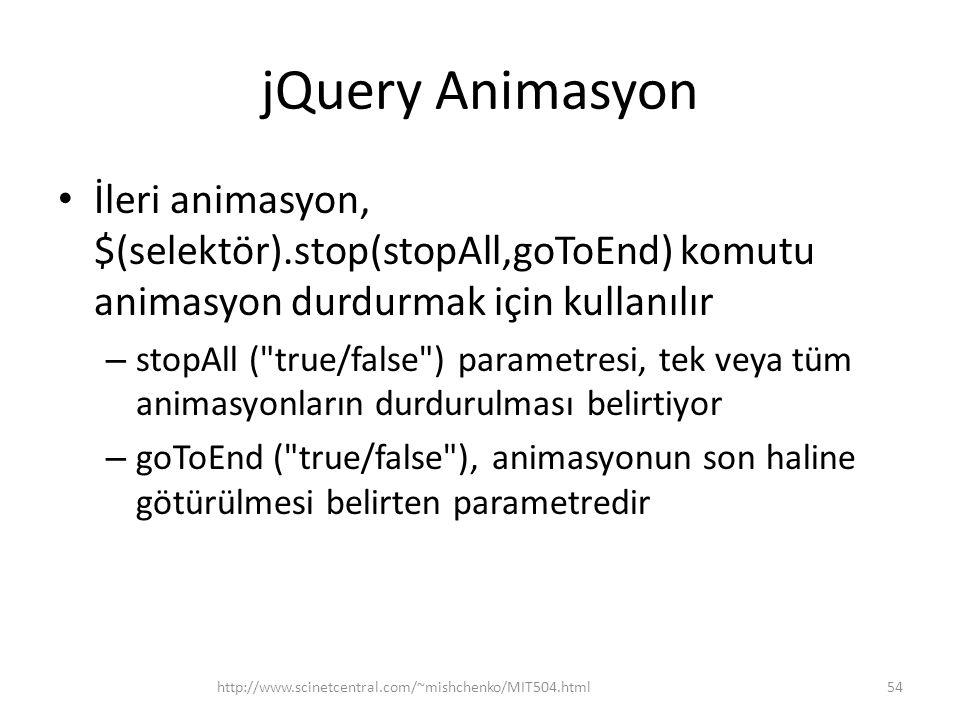 jQuery Animasyon İleri animasyon, $(selektör).stop(stopAll,goToEnd) komutu animasyon durdurmak için kullanılır.